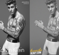 Justin Bieber Photoshopped for Calvin Klein